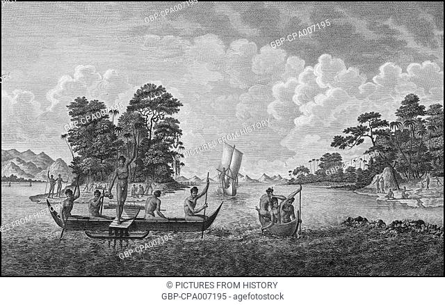 Papua New Guinea, Boats and People of the Admiralty Islands, c.1785