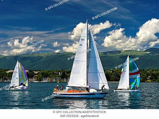 Sailing boats on a summer day on Lake Geneva, Geneva, Switzerland