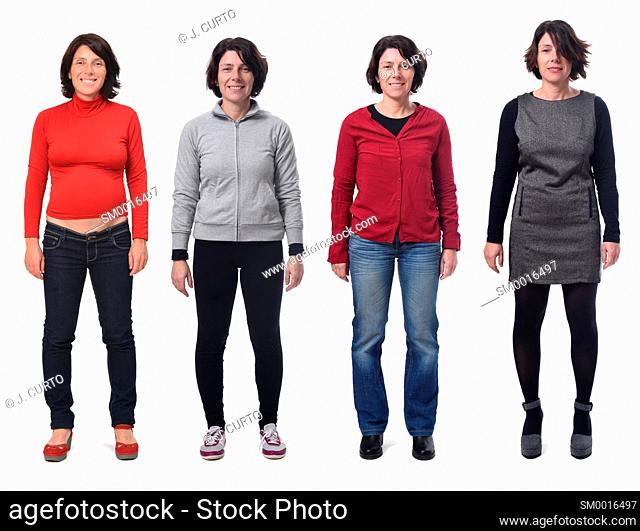Front view of a group of photos of the same woman in different costumes and also pregnant on white background