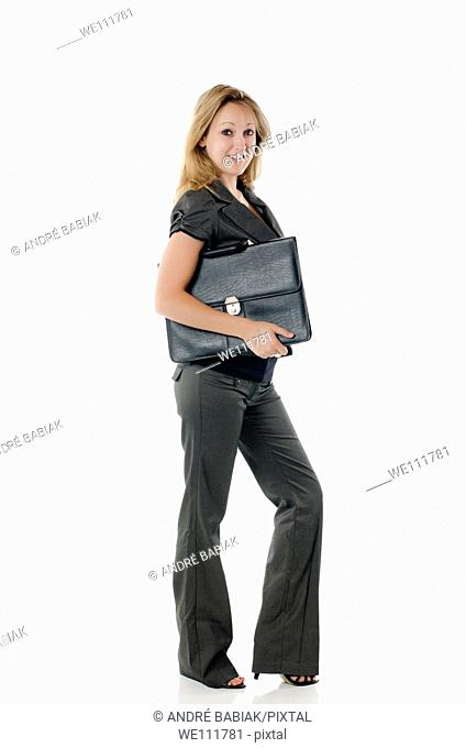 Young business woman with briefcase
