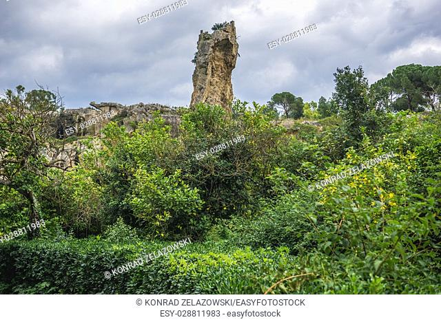 Latomia del Paradiso ancient quarry, part of Neapolis Archaeological Park in Syracuse city, Sicily Island, Italy