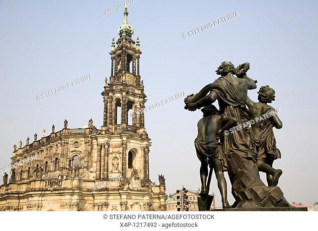 Hofkirche and Sculpture in Dresden, Germany