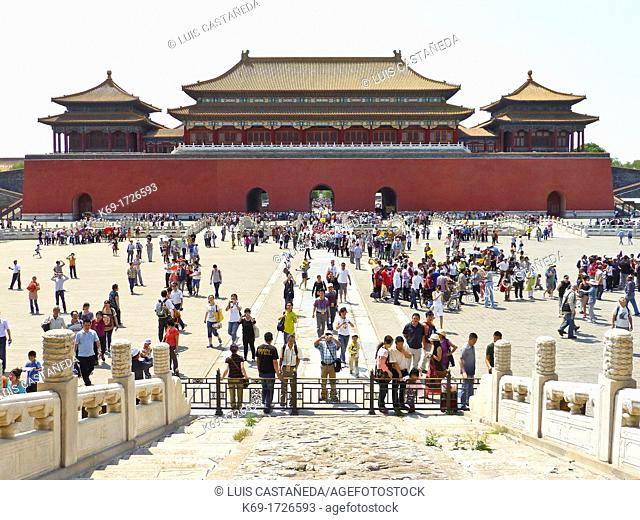 The Meridian Gate  Wumen Gate view from the Taihe Gate  The Forbidden City  Beijing  China  The Forbidden City was the Chinese imperial palace from the Ming...