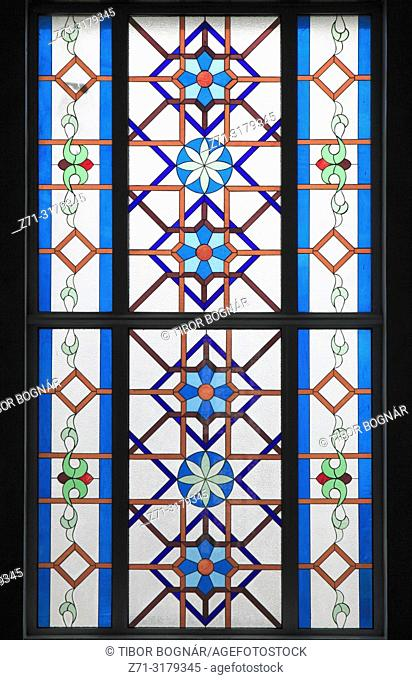 Kazakhstan; Astana; Hazrat Sultan Mosque, interior, window,