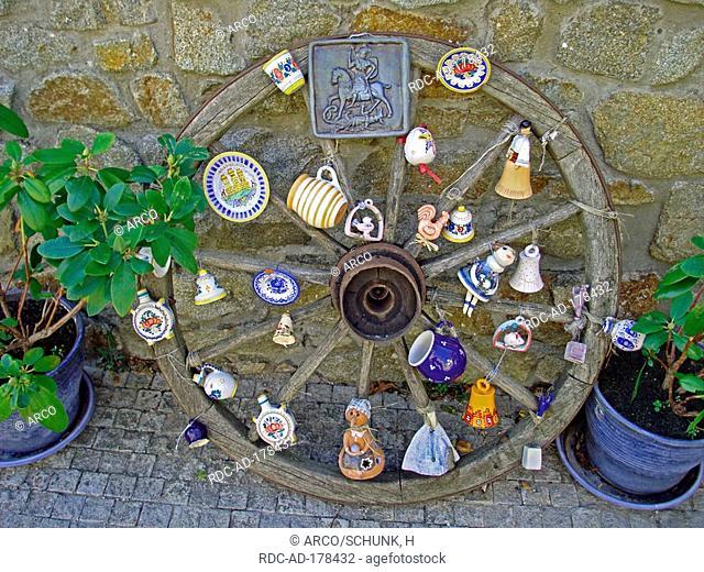 Cart of wheel with souvenirs, Bratislava Castle, Bratislava, Slovakia