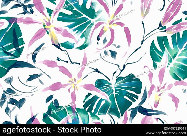 Colourful pattern with tropical leaves and flowers. Raster seamless watercolor pattern. Good for textiles and paper wrapper. Light pastel color