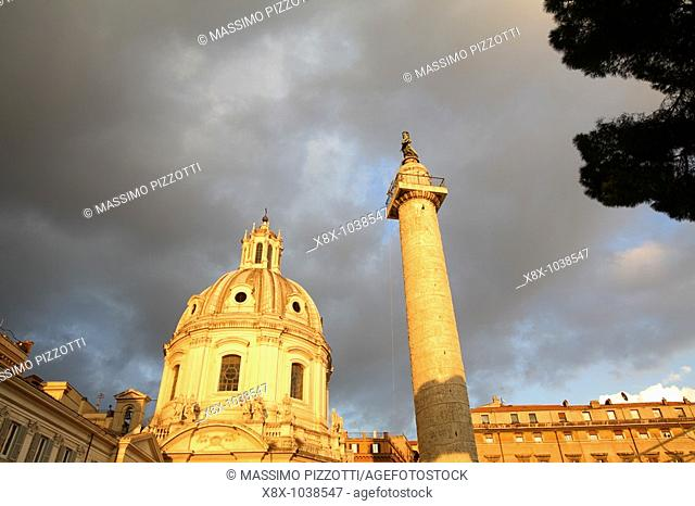 The 98 feet Trajan's column, Rome, Italy