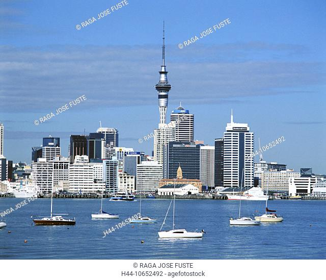 10652492, Auckland, coast, sea, New Zealand, north island, sail boats, skyline, tower, rook