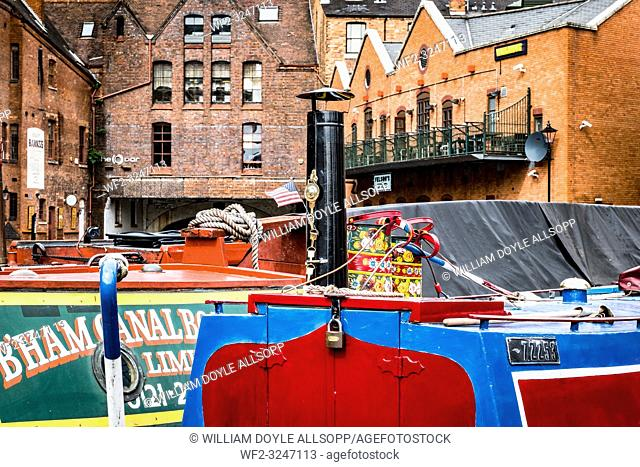 Boats moored in Gas Stret Basin in central Birmingham