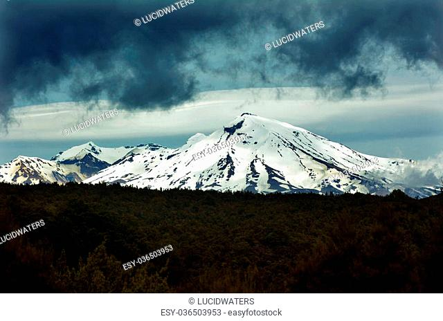 NATIONAL PARK, NZ - NOV 25 2014:Mount Ruapehu. Ruapehu is one of the world's most active volcanoes and the largest active volcano in New Zealand