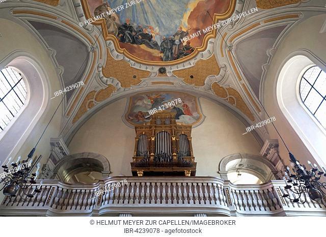 Organ loft, baroque servite monastery, 1626, Innsbruck, Tyrol, Austria