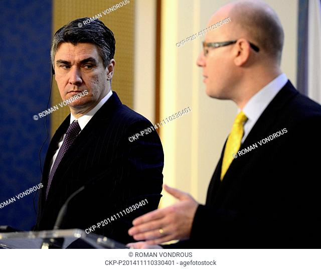 Czech Premier Bohuslav Sobotka, right, and his Croatian counterpart Zoran Milanovic pictured during the press conference in Prague, Czech Republic, November 11