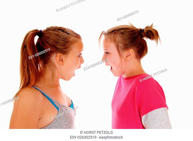 A closeup image of two sisters shouting at each other, with blond.ponytail's, isolated for white background.