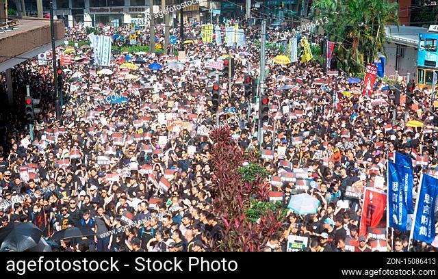 Hong Kong, 16 June 2019 - Hong Kong protest crowd parade against extradition law