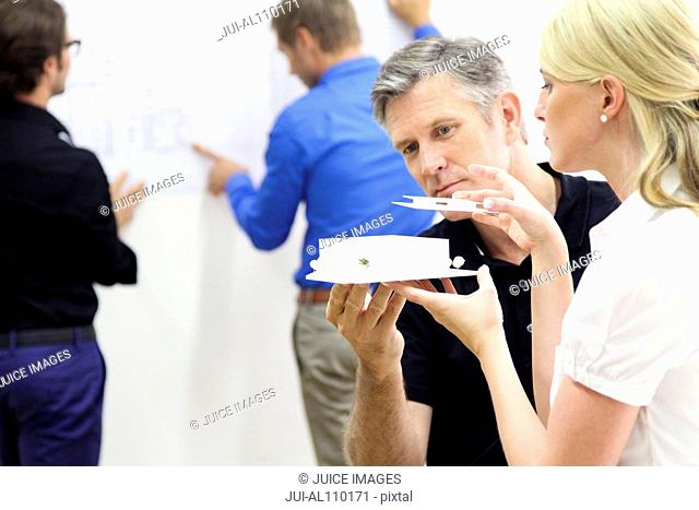 Mature man and young woman constructing architectural model