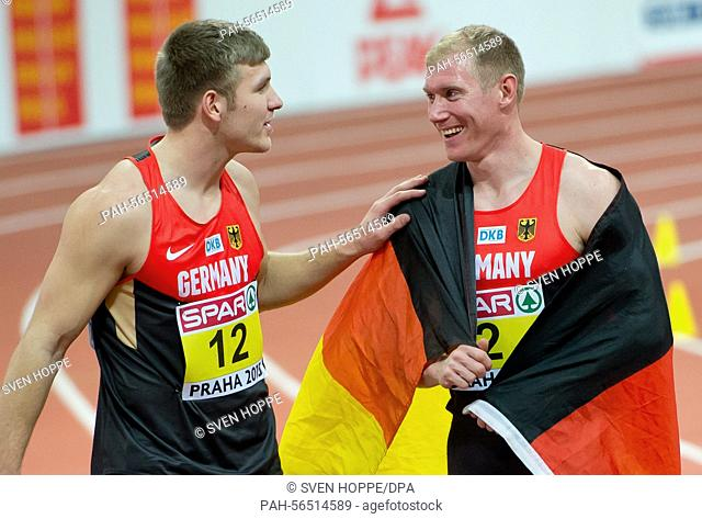 Mathias Brugger (l) and Arthur Abele of Germany are seen after the men's Heptathlon 1000m competition at the IAAF European Athletics Indoor Championships 2015...