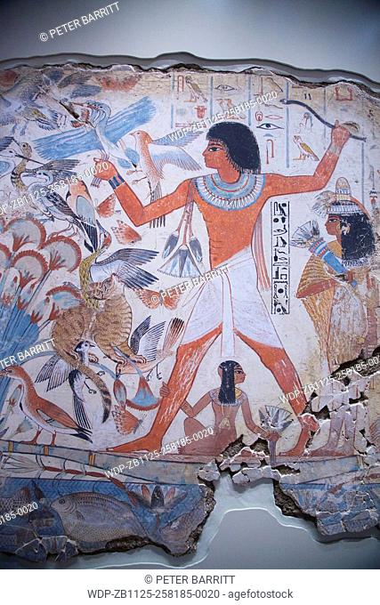 Nebamun hunting in the Marshes, tomb-chapel decoration, British Museum, London, UK