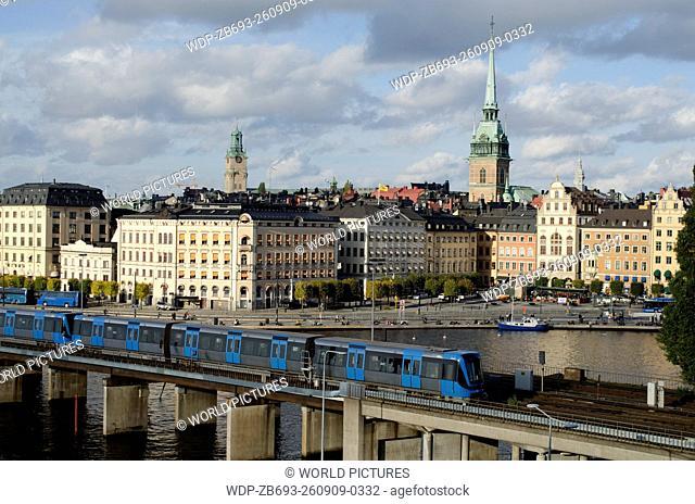 train Riddarholmen and Centralbron Stockholm Sweden