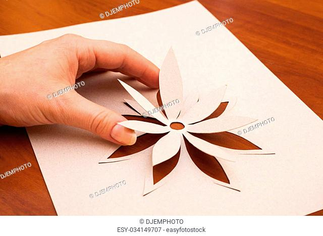 Making flower from white paper in closeup
