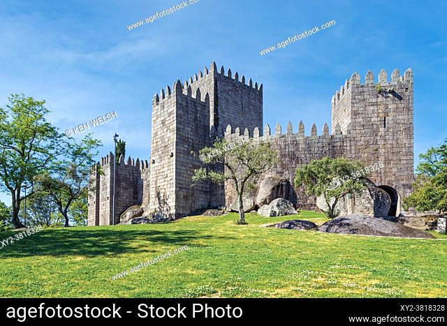Guimaraes, Braga District, Portugal. Castelo de Guimaraes or Guimaraes Castle. Founded in the 10th century and known as the Cradle of Portugal