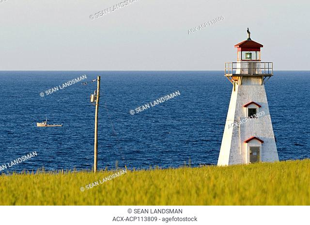 Cape Tryon Lighthouse, Cape Tryon, Prince Edward Island, Canada, lobster boat