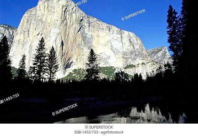 Reflection of a mountain in water, El Capitan, Merced River, Yosemite National Park, California, USA