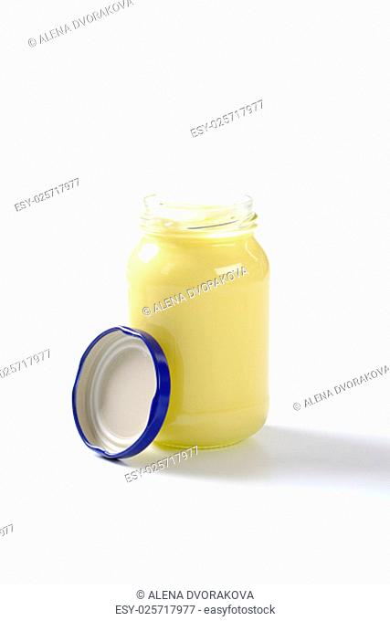 jar of mayonnaise on white background