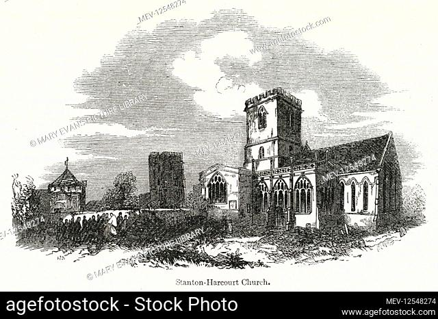 St Michael's Church, Stanton-Harcourt, near Witney, Oxfordshire, dating back to the 12th century. The tower to the left is associated with the poet Alexander...