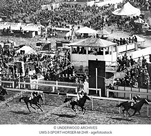 Surrey, England: June 6, 1930.Rose of England ridden by Gordon Richards wins the Oaks at Epsom Derby