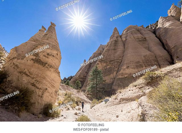 USA, New Mexico, Pajarito Plateau, Sandoval County, Kasha-Katuwe Tent Rocks National Monument, desert valley with bizarre rock formations