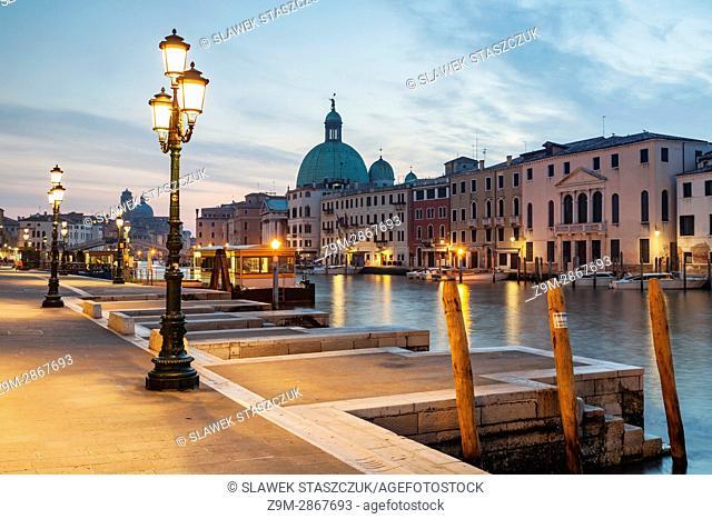 Dawn on Grand Canal in Venice. San Simeone Piccolo church dominates the skyline of Santa Croce district