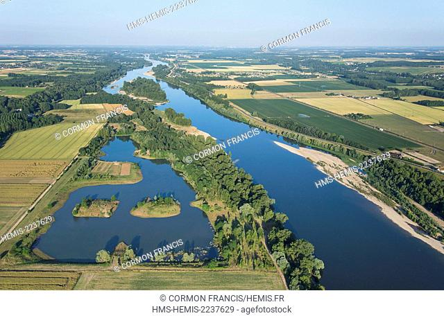 France, Indre et Loire, Mosnes, Loire Valley listed as World Heritage by UNESCO, sandbanks of the Loire (aerial view)