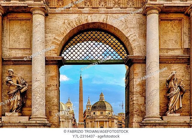 Detail of Porta del Popolo, Rome Italy
