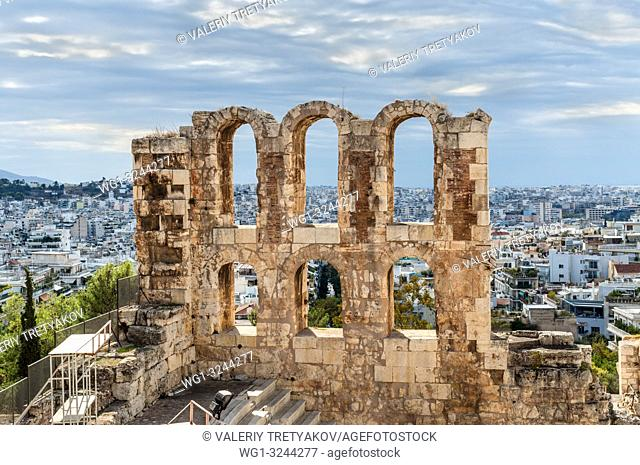 The Odeon of Herodes Atticus Theater Wall Details. It is a stone theatre structure located on the southwest slope of the Acropolis of Athens, Greece