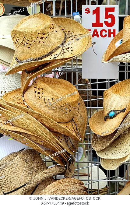 Straw hats on display and for sale at the Quick Chek 30th Annual Festival of Ballooning Readington, New Jersey, USA