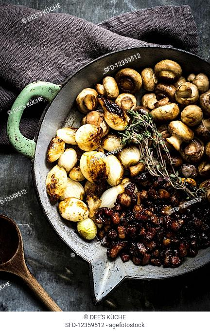 Pan fried mushrooms with shallots and bacon