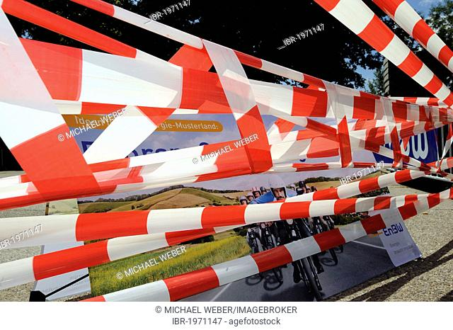 Red and white barrier tape, Stuttgart, Baden-Wuerttemberg, Germany, Europe, PublicGround