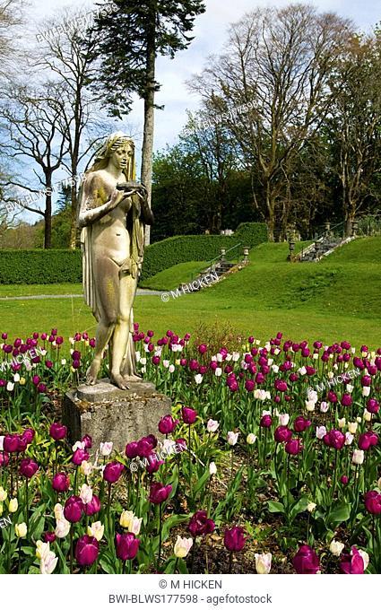 white lady statue at Torosay castle, United Kingdom, Scotland, Isle of Mull