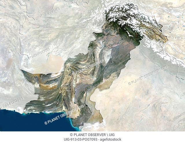 Satellite view of Pakistan (with country boundaries and mask) showing disputed boundaries with India. This image was compiled from data acquired by Landsat 8...
