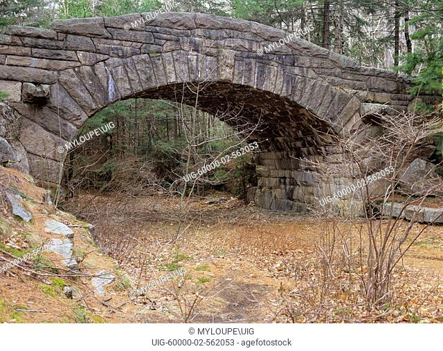 One of the many stone bridges located in Acadia National Park, USA. This bridge is located on one of the carriage roads near Bubble pond