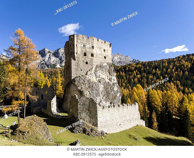 Andraz Castle (also called Buchenstein or Andrac) near Passo Falzarego in the Dolomites of the Veneto. The Dolomites of the Veneto are part of the UNESCO world...