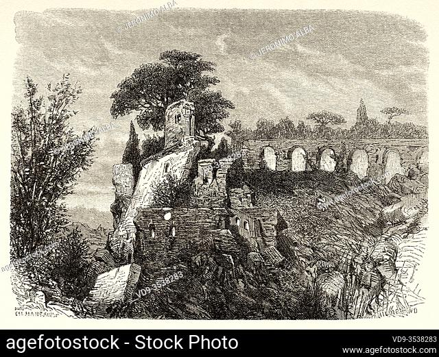 Palatine steep slope and ruins on the Circus Maximus, Rome. Italy, Europe. Trip to Rome by Francis Wey 19Th Century