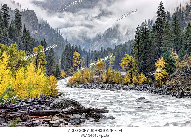 The beautiful Wenatchee River in Autumn near Leavenworth, Washington