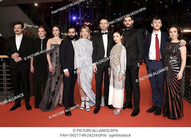 "11 February 2019, Berlin: 69th Berlinale, Award """"European Shooting Stars 2019"""": The actors Dawid Ogrodnik, Poland (l-r), Rea Lest, Estonia, Aisling Franciosi"