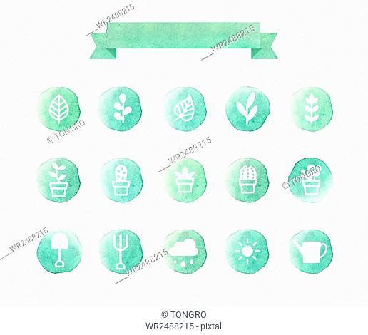 Set of various icons related to gardening