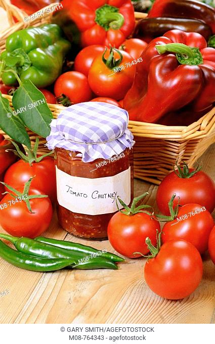 Country Kitchen scene with home made chutney and ingredients, UK, September