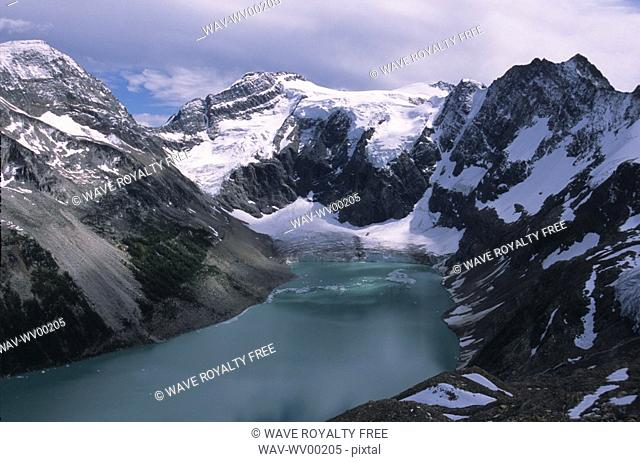 Alpine lake with glacier and mountains surrounding, Lake of the Hanging Glaciers, East Kootenays, B C