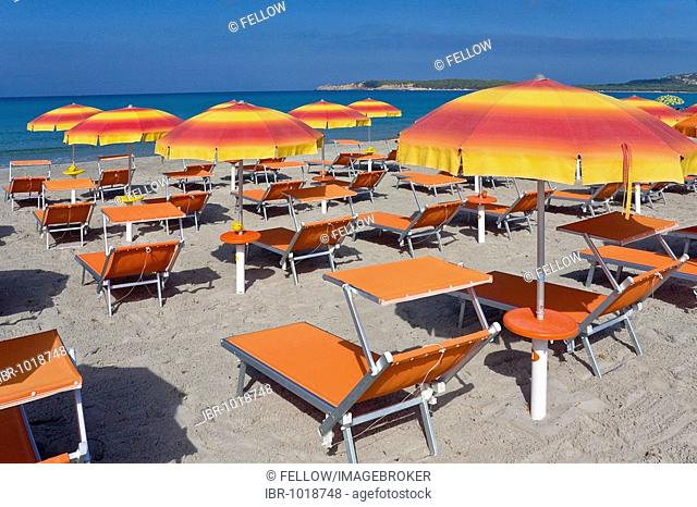 Deck chairs and sunshades on the beach of Sant'Anna Arresi, Sardinia, Southern Coast, Italy, Europe