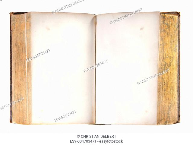 Antique open book, isolated
