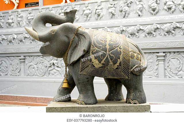Statue of an Elephant outside of an hindu temple